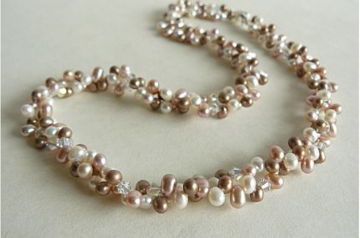 Pink White & Coffee Freshwater Pearl Head-Drill Two Strand Necklace