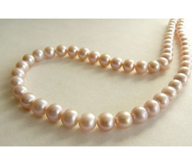 Pink Medium Round Pearl Necklace