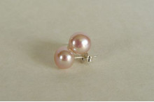 Pink Pearl Stud Earrings - Medium