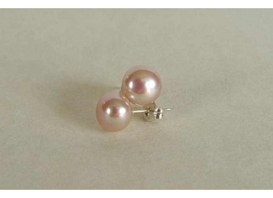 Pink Pearl Stud Earrings - Medium