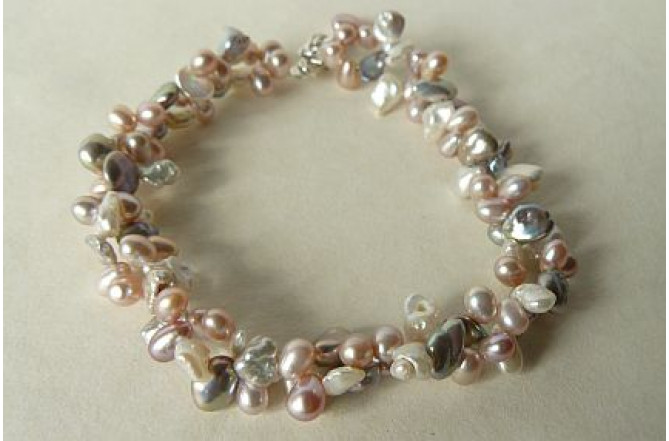Pink Cream & Silver Twisted Keshi Bracelet