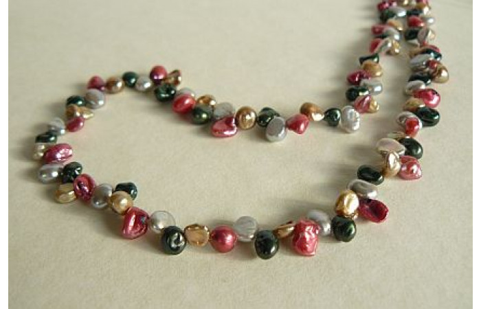 Mixed Colour Keshi Pearl Necklace
