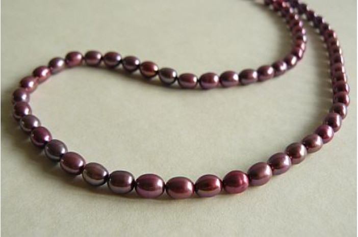 Plum-Pink Small Oval Pearl Necklace