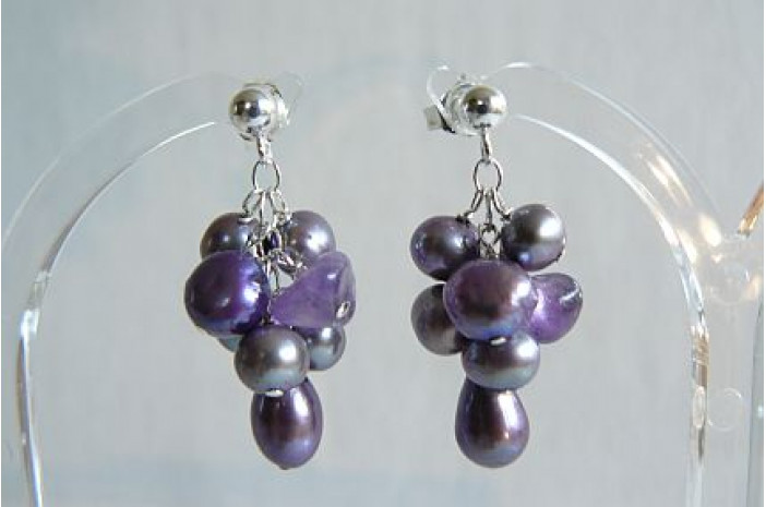 Purple Pearl Small Cluster Stud Drop Earrings