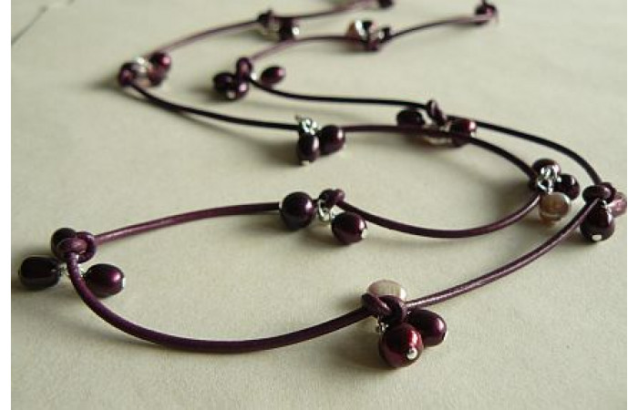 Mulberry Pearls on Leather Necklace