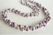 Purple, Lilac & White Freshwater Pearl Head-Drill Two Strand Necklace