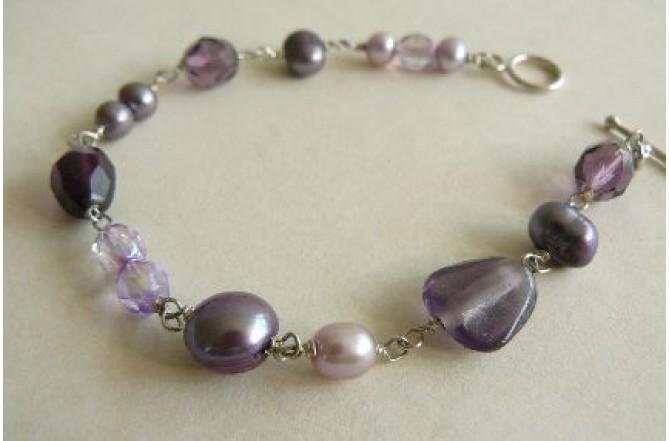Purple Silver Linked Bracelet