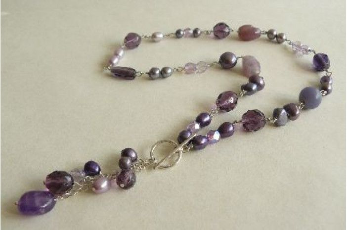 Purple Silver Linked Necklace