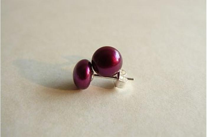 Berry Pearl Stud Earrings - Small