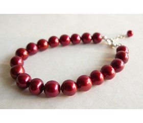 Red Large Round Pearl Bracelet