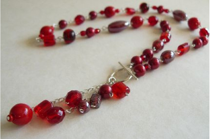 Red Pearl & Bead Silver Linked