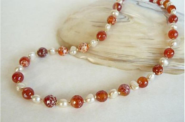 Red Fire Agate & Pearl Necklace