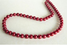 Red Large Round Pearl Necklace