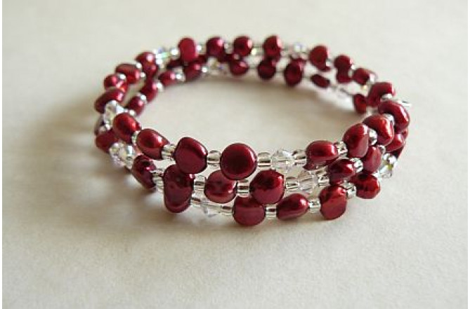 Red Pearl Memory Wire Bracelet