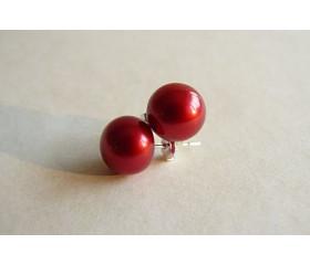 Red Pearl Stud Earrings - Large