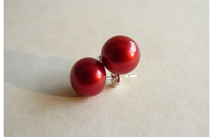 Red Pearl Stud Earrings - Large
