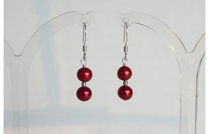 Red Small Round Pearl Drop Earrings