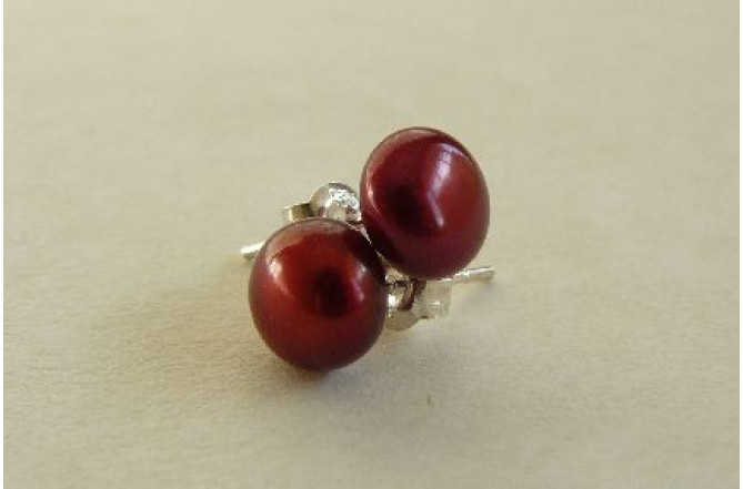 Red Pearl Stud Earrings - Small