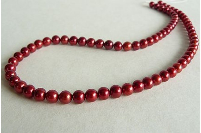Red Small Round Pearl Necklace