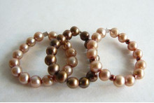 Gold & Bronze Pearl Elasticated Rings