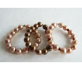 Gold & Bronze Pearl Elasticated Rings