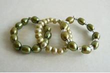 Green Pearl Elasticated Rings
