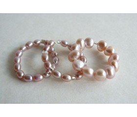 Pink Pearl Elasticated Rings