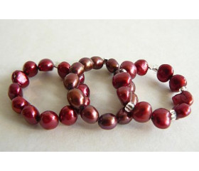 Red Pearl Elasticated Rings
