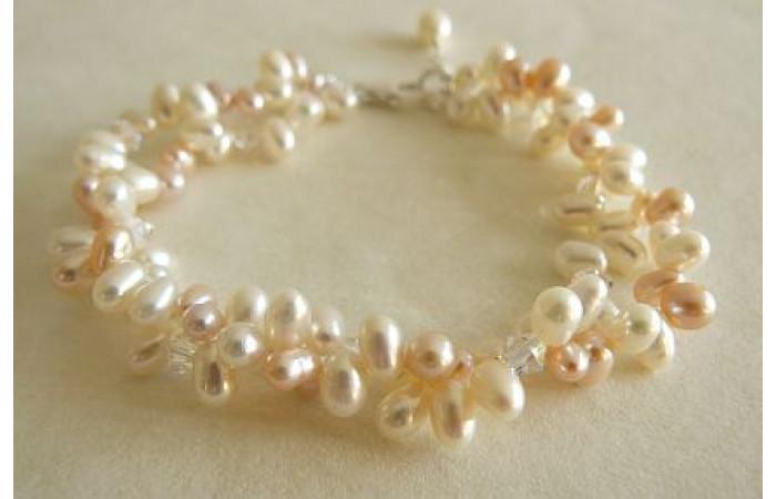 White & Peach Pearl Multistrand Bracelet