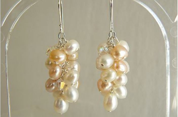 White & Peach Large Cluster Drop Earrings
