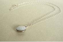 Silver Coin Pearl Pendant Necklace