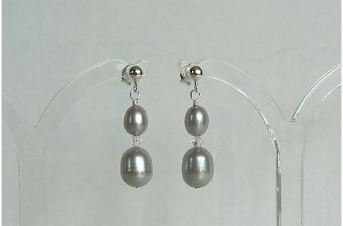 Silver Pearl & Crystal Drop Earrings