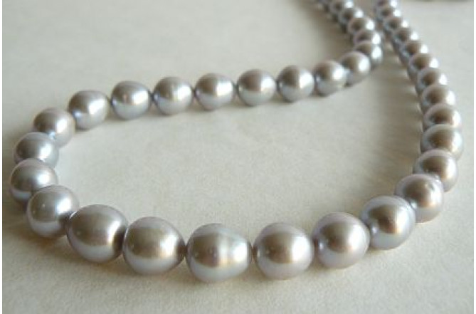 Silver Large Oval Pearl Necklace