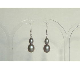 Mixed Silver Oval Pearl Drop Earrings