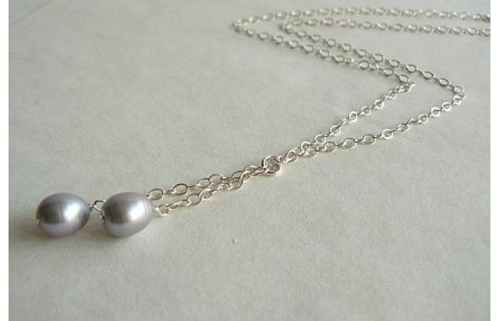 Silver Pearl Drops on Silver Chain Necklace
