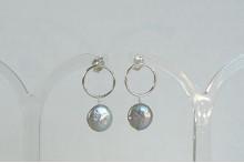 Silver Pearl & Circle Stud Drop Earrings