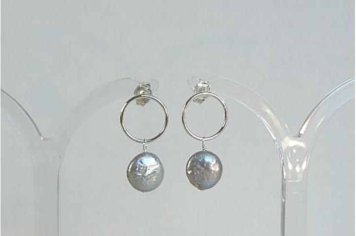 Silver Pearl & Circle Stud Drop Earrings