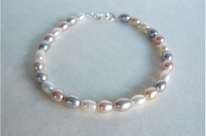 Silver Pink & White Small Oval Pearl Bracelet