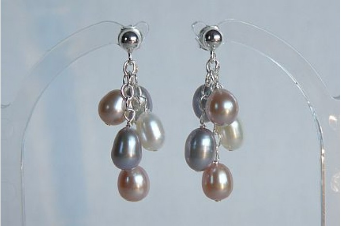 Silver Pink & White Oval Pearl Small Cluster Stud Drop Earrings