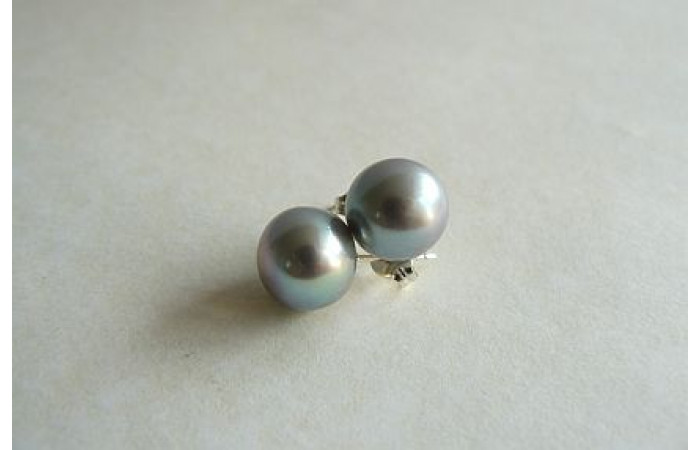 Silver Pearl Stud Earrings - Large