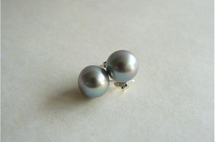 Silver Pearl Stud Earrings - Large