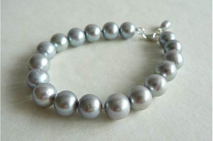Silver Large Round Pearl Bracelet
