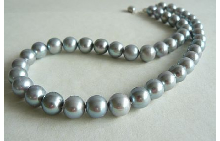Silver Large Round Pearl Necklace