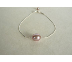 Single Pink Pearl on Fine Silver Chain Bracelet