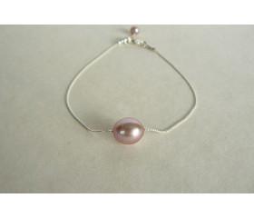 Single Pink Pearl on Fine Silver Chain Bracelet