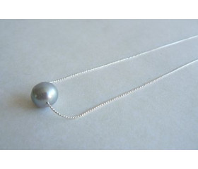 Single Silver Round Pearl on Silver Chain Necklace