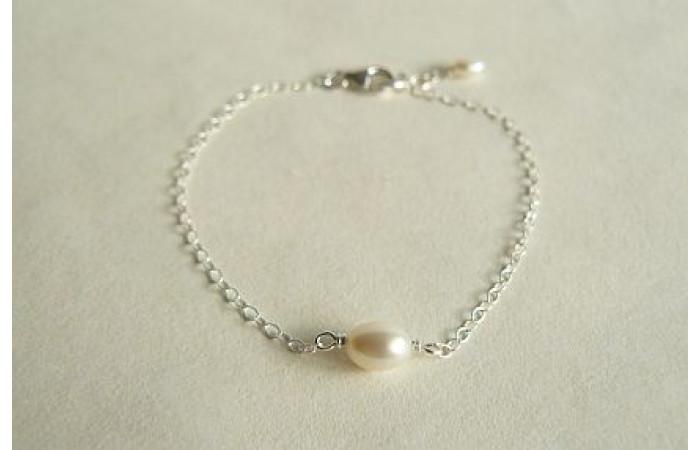 Children's Single White Pearl Bracelet on Small Silver Chain