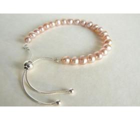 Pink Pearl Slider Adjustable Clasp Bracelet