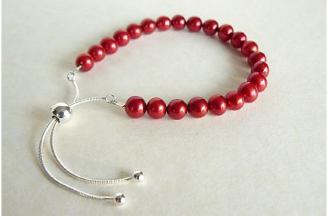 Red Pearl Slider Adjustable Clasp Bracelet