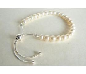 White Pearl Slider Adjustable Clasp Bracelet